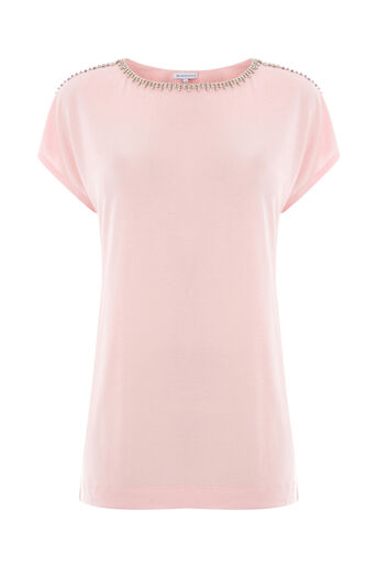 Warehouse, DIAMONTE TRIM TEE Light Pink 0