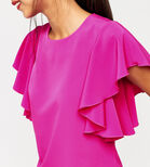 Warehouse, RUFFLE TOP Bright Pink 1