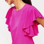 Warehouse, RUFFLE TOP Bright Pink 1
