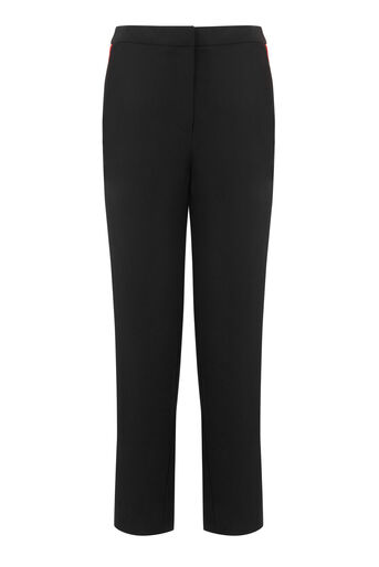 Warehouse, SIDE STRIPE SLIM LEG TROUSER Black 0