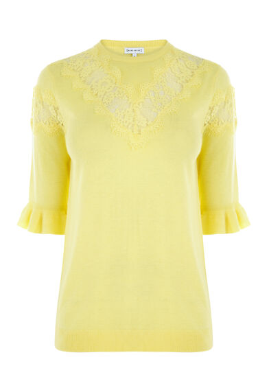 Warehouse, LACE INSERT FRILL CUFF JUMPER Lemon 0