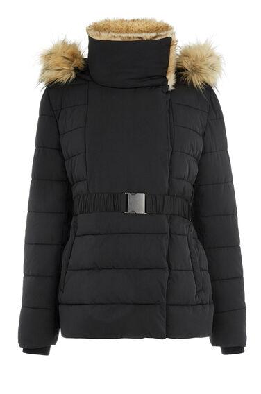 Warehouse, Short Luxe Padded Jacket Black 0