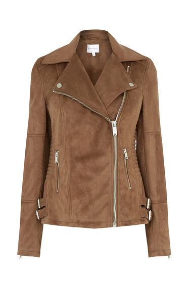 Warehouse, Suedette Biker Jacket Tan 0