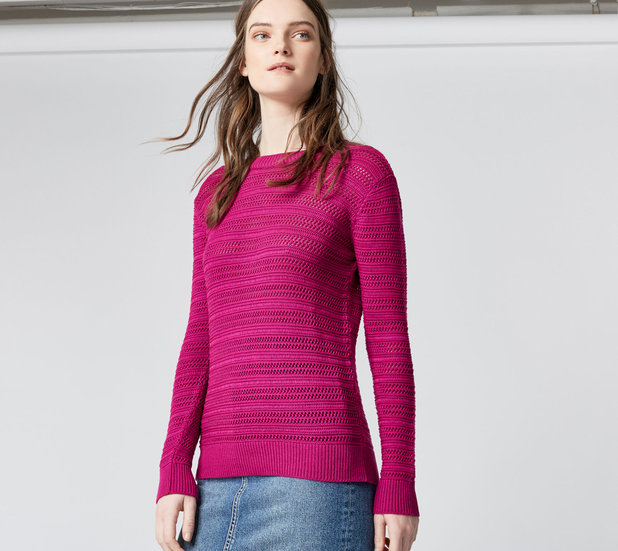 Warehouse, STITCHY OPEN BACK JUMPER Bright Pink 1