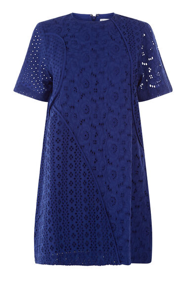 Warehouse, BRODERIE PANELLED DRESS Bright Blue 0