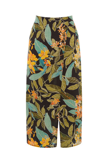 Warehouse, TROPICAL GARDEN SKIRT Black Pattern 0