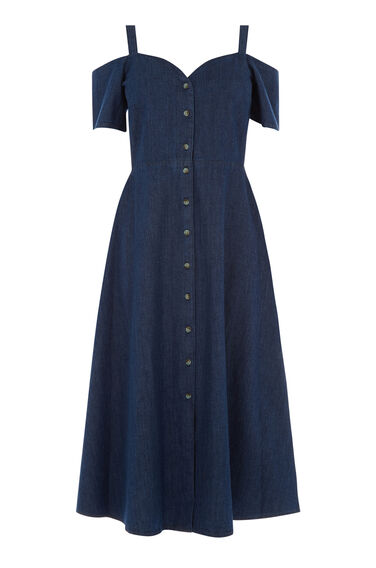Warehouse, Sweetheart Cut-out Denim Dress Mid Wash Denim 0