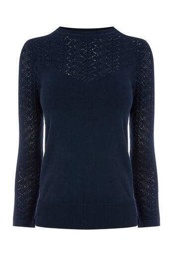Warehouse, PRETTY STITCH YOKE JUMPER Navy 0