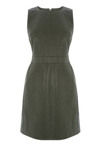Warehouse, Faux Leather Shift Dress Khaki 0