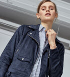 Warehouse, Suedette Crop Biker Jacket Navy 4