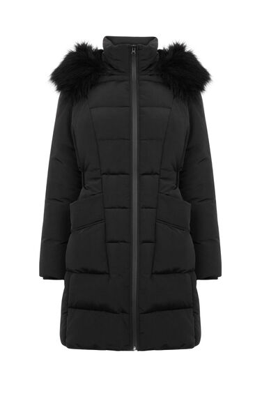 Warehouse, Side Tab Detail Padded Coat Black 0