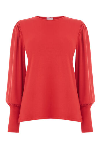 Warehouse, PUFF LONG SLEEVE TOP Bright Red 0