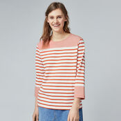 Warehouse, ENGINEERED STRIPE TOP Red Stripe 1