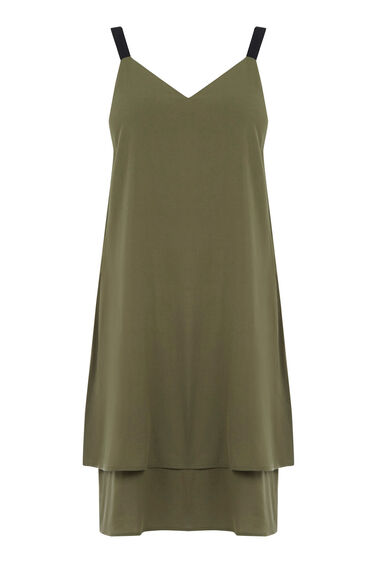 Warehouse, Double Layer Cami Dress Khaki 0