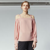 Warehouse, STRAPPY BARDOT TOP Light Pink 1
