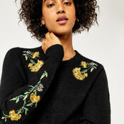 Warehouse, COSY FLORAL EMBROIDERED JUMPER Black 1
