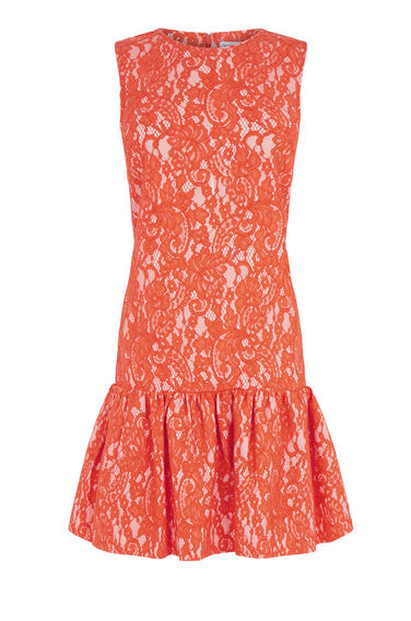 Warehouse, BONDED LACE PEPLUM DRESS Orange 0