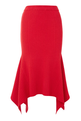 Warehouse, FLARE HEM SKIRT Bright Red 0
