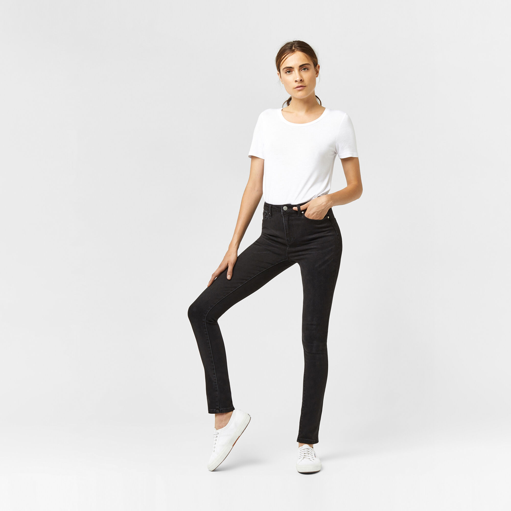 Warehouse, Powerhold Skinny Cut Jeans. Black 1