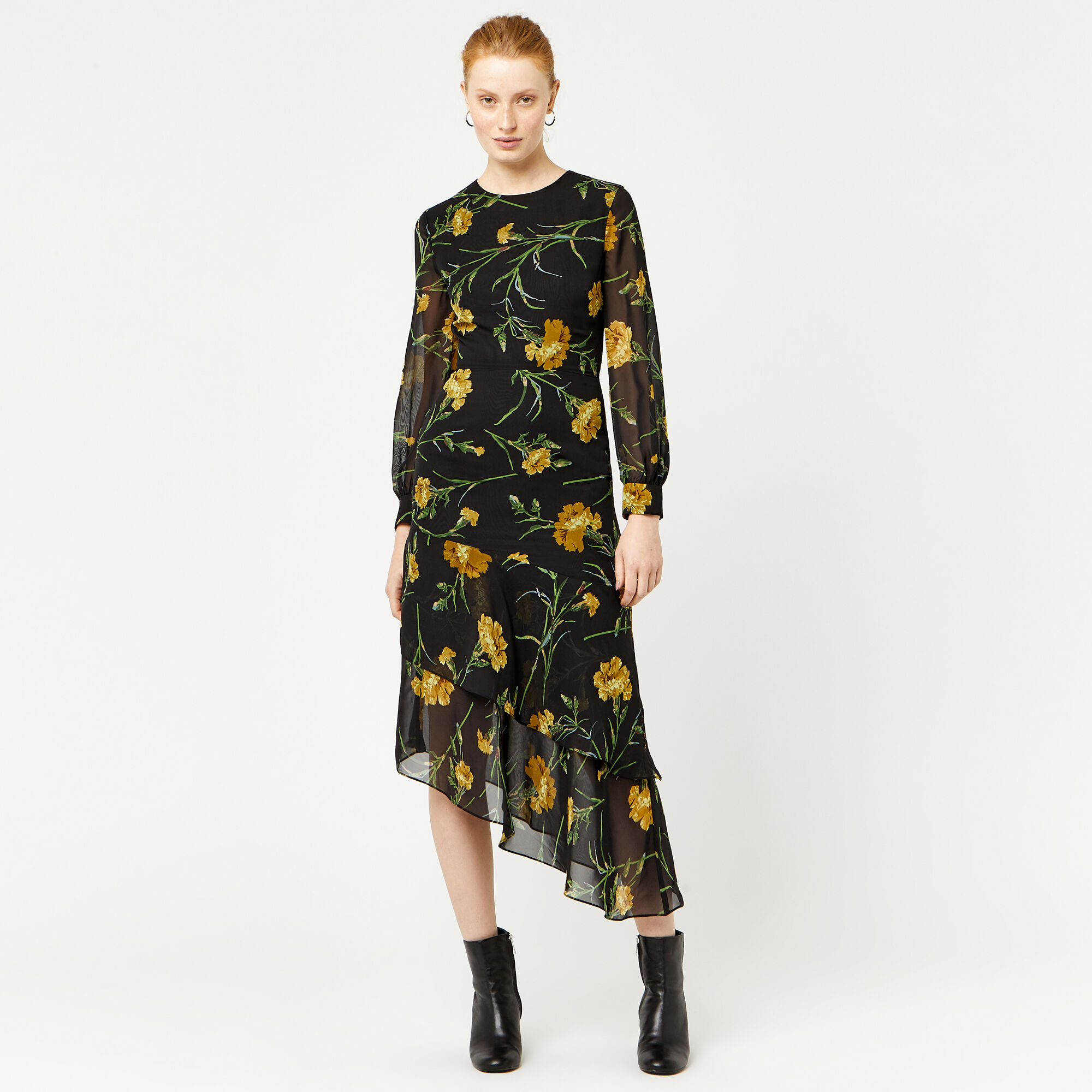 Warehouse, CARNATION PRINT MIDI DRESS Black Pattern 1