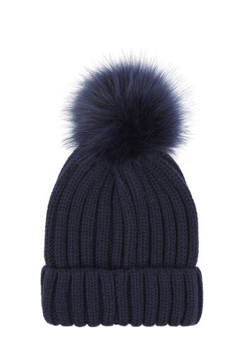 Warehouse, FAUX FUR POM HAT Navy 0