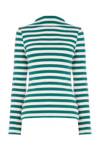 Warehouse, STRIPE RIB TOP Green Stripe 0