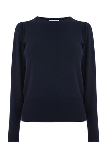 Warehouse, PUFF SLEEVE JUMPER Navy 0
