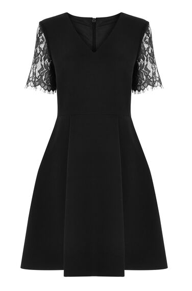 Warehouse, LACE SLEEVE DRESS Black 0