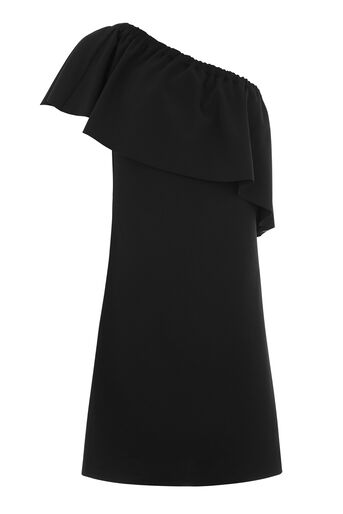 Warehouse, ONE SHOULDER CREPE FRILL DRESS Black 0