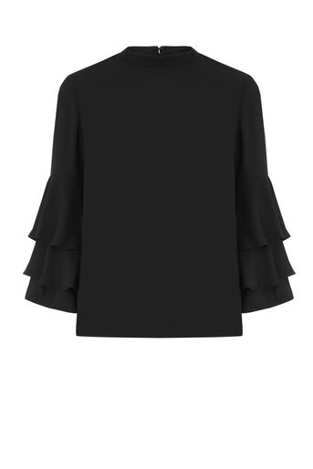 Warehouse, TIERED SLEEVE TOP Black 0