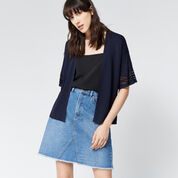 Warehouse, POINTELLE FLUTED CUFF CARDI Navy 1