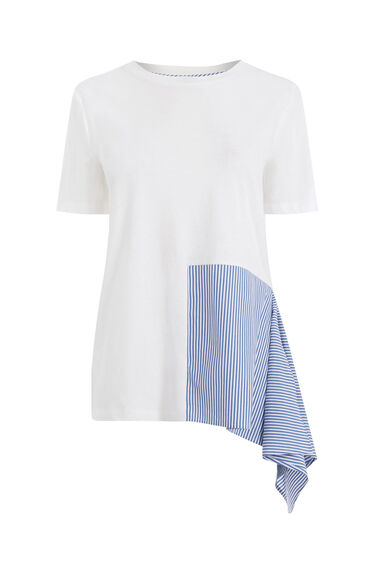 Warehouse, STRIPE PANEL ASYMMETRIC TEE Multi 0