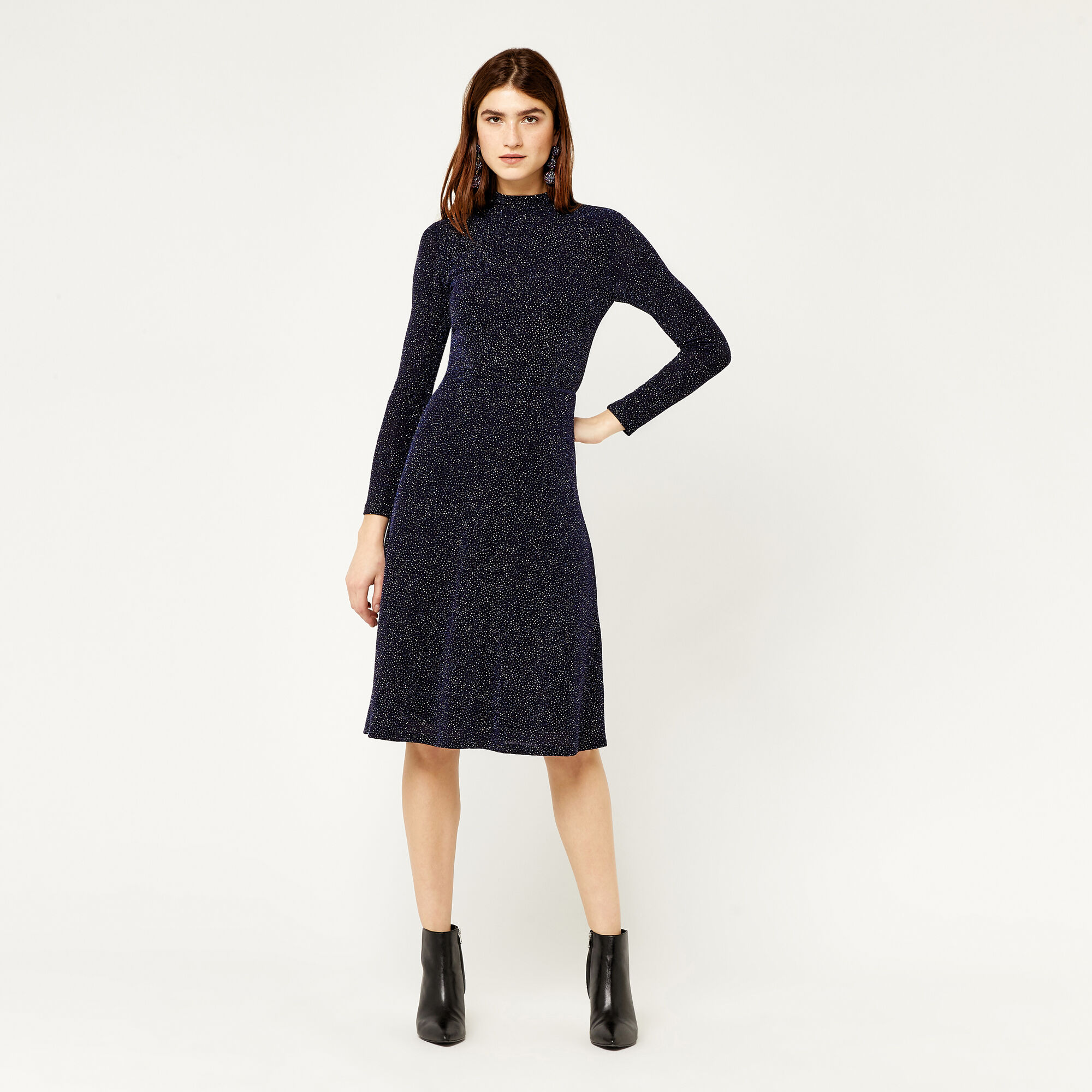 Warehouse, CRYSTAL GLITTER MIDI DRESS Navy 1