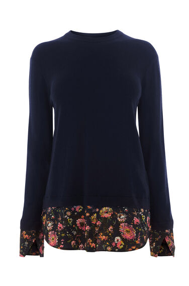 Warehouse, PAINTED FLORAL HYBRID JUMPER Navy 0