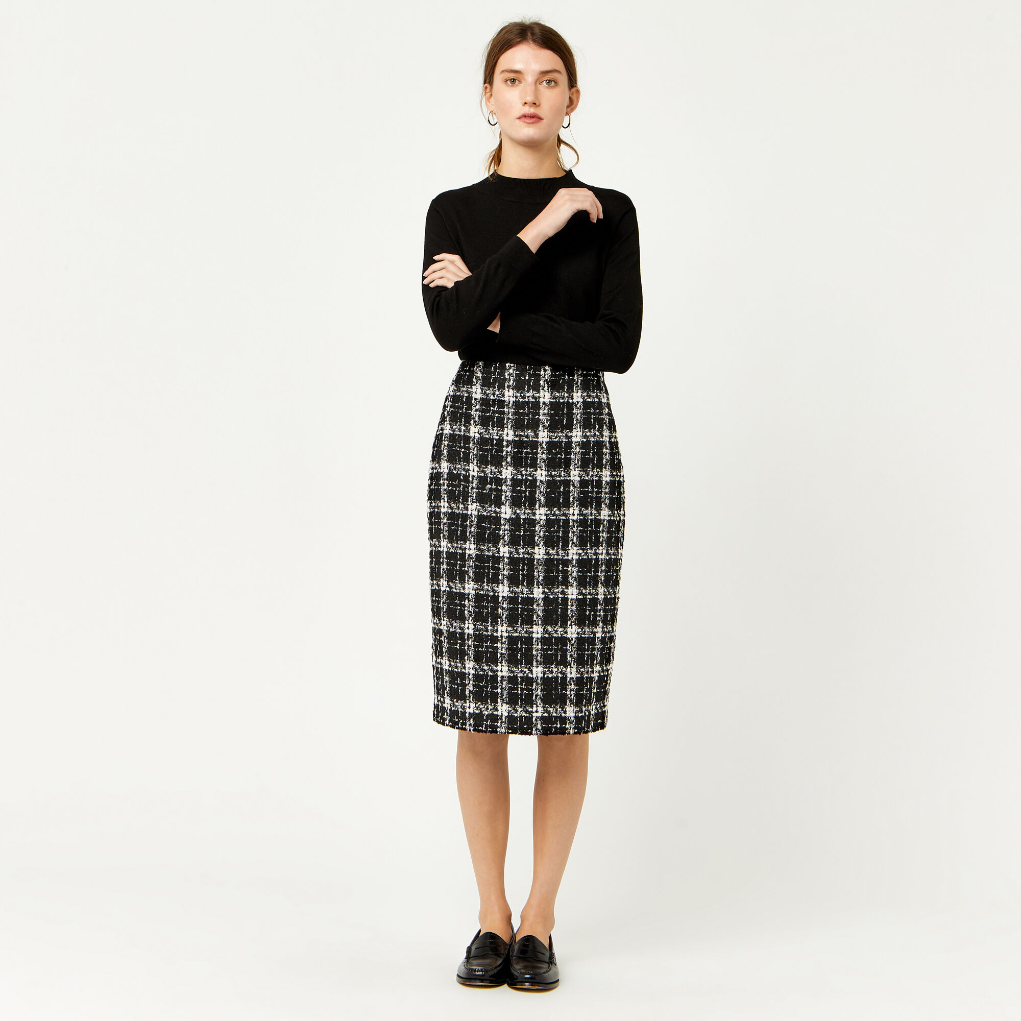 Warehouse, TWEED CHECK PENCIL SKIRT Multi 1