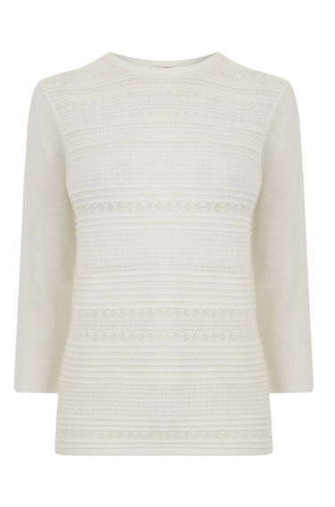 Warehouse, PRETTY STITCH CREW JUMPER Cream 0