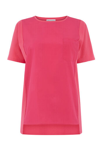 Warehouse, COTTON FRONT POCKET TEE Bright Pink 0