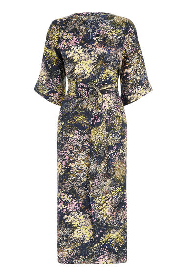 Warehouse, WINTER FLORAL SILK MAXI DRESS Blue Pattern 0
