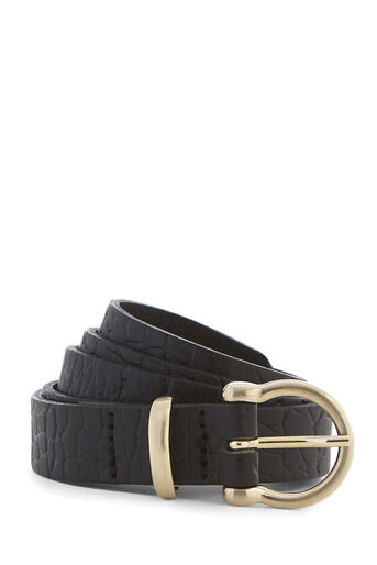 Warehouse, LEATHER SKINNY CROC BELT Black 0