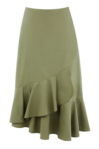 Warehouse, COTTON FRILL HEM SKIRT Khaki 0