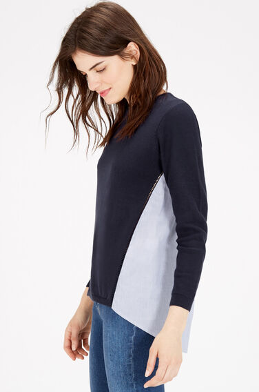 Warehouse, COTTON MIX HYBRID JUMPER Navy 1