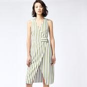 Warehouse, STRIPE WRAP DRESS Green Stripe 1