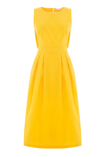 Warehouse, OPEN BACK COTTON DRESS Yellow 0