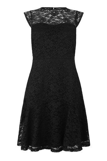 Warehouse, Kanten jurk met hartvormige hals Zwart 0