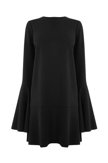 Warehouse, FLUTE SLEEVE DRESS Black 0