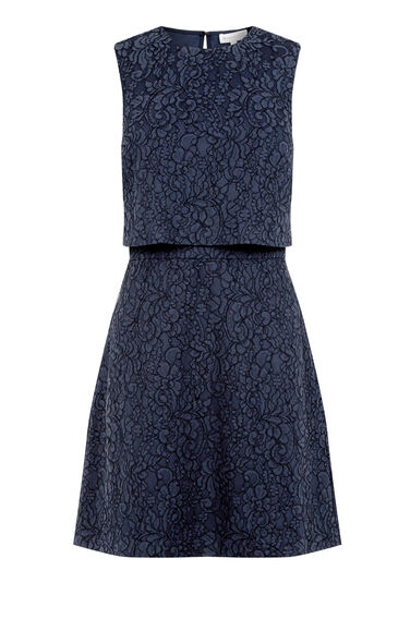 Warehouse, BONDED LACE OPEN BACK DRESS Navy 0