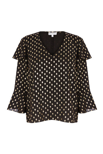 Warehouse, METALLIC SPOT RUFFLE TOP Black Pattern 0