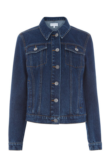 Warehouse, Crop Denim Jacket Dark Wash Denim 0