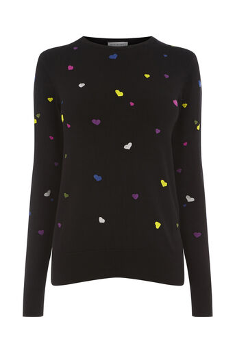 Warehouse, HEART EMBROIDERED JUMPER Black 0