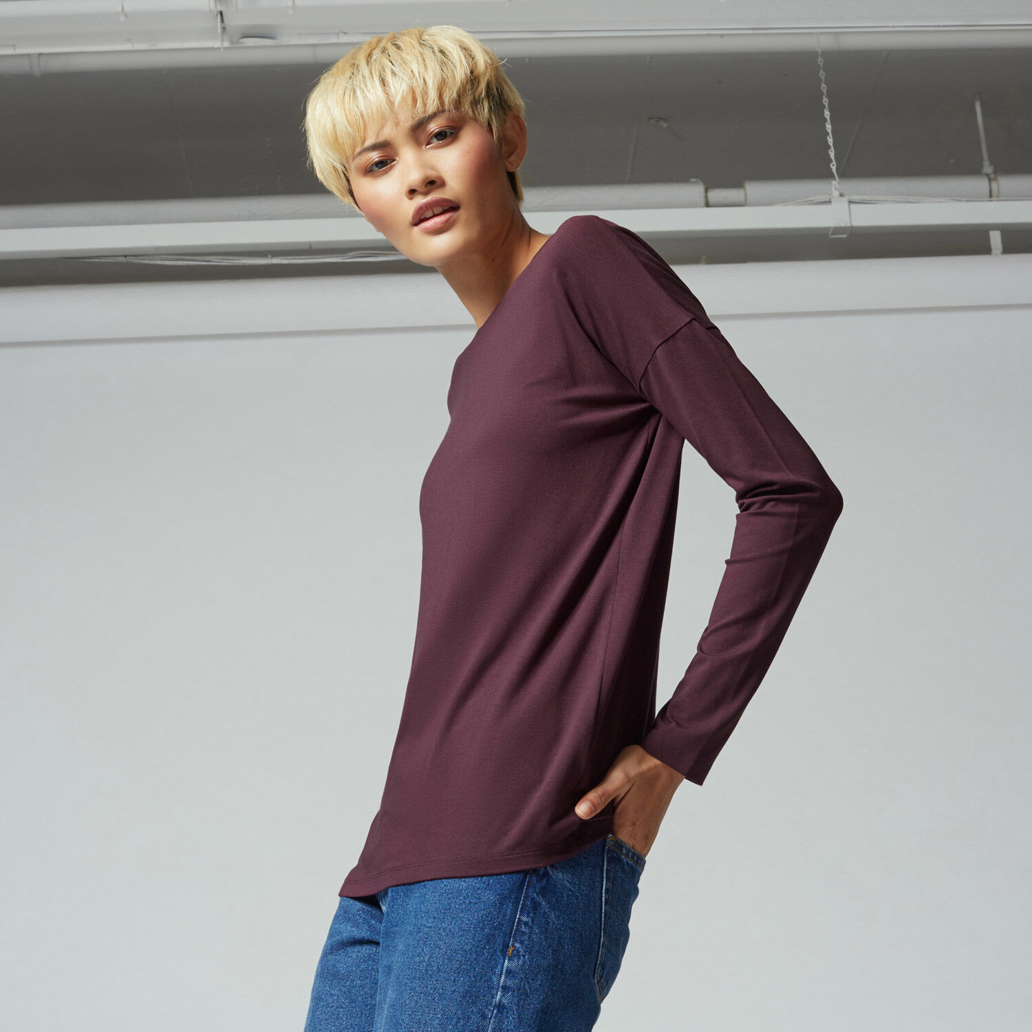 Warehouse, TIE BACK TOP Berry 1